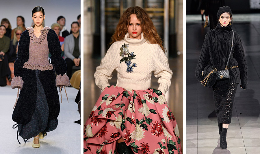 Από τις πασαρέλες φθινόπωρο 2020-χειμώνας 2021: Ρομαντική εκδοχή με ιδιαίτερα μανίκια και βολάν, Gucci // Χοντρό πουλόβερ με απλικέ λουλούδια, Oscar de la Renta // Πουλόβερ με χοντρή πλέξη πάνω από πλεκτή σαν δαντέλα φούστα, Dolce&Gabbana