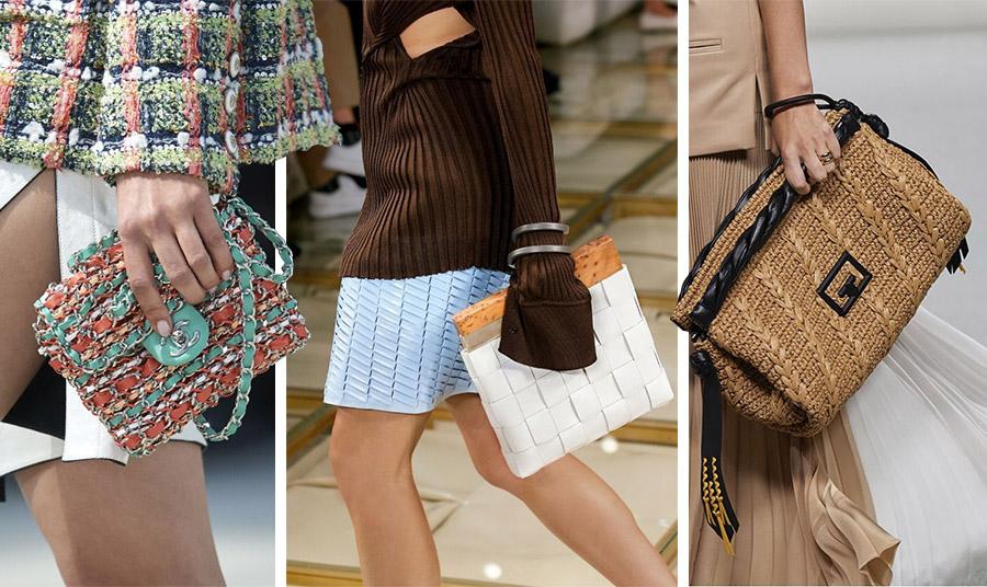 Από τις πασαρέλες άνοιξη-καλοκαίρι 2020: Μοναδικοί συνδυασμοί χρωμάτων και σούπερ κομψότητα για τη Chanel // Λευκή πλεκτή τσάντα από λευκό δέρμα, Bottega Veneta // Μεγάλος φάκελος από πλεκτή ψάθα και δέρμα, Givenchy