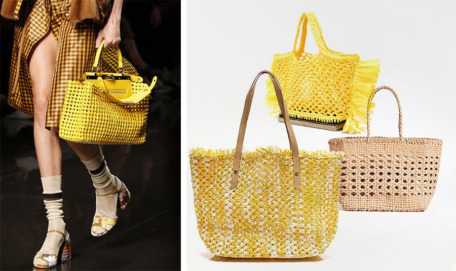 Το κίτρινο δεν λείπει και από τις πλεκτές τσάντες από την επίδειξη άνοιξη-καλοκαίρι 2020, Fendi // Η τσάντα που έκλεψε τις εντυπώσεις εδώ σε κίτρινο, Αltuzarra (επάνω) // Μεγάλη κίτρινη πλεκτή τσάντα με δερμάτινα λουράκι, J. Crew // Μία κλασική πλεκτή τσάντα σε γήινα χρώματα για βόλτες στην πόλη ή στην εξοχή