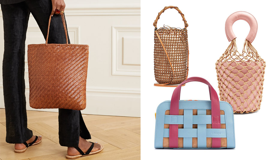 Κλασική πλεκτή tote bag, Dragon Diffusion // Σε σχήμα πουγκί, Loewe // Επίσης σε σχήμα πουγκί με σε ροζ και χρυσό δίχτυ, Staud // Πλεκτή από λωρίδες δέρματος σε γαλάζιο-φούξια-μπεζ, Mlouye