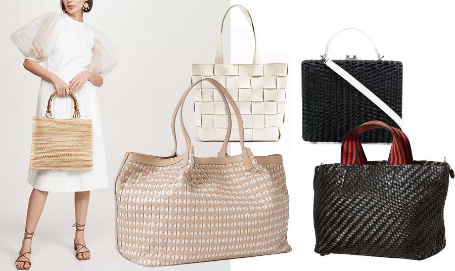 Κρατήστε μία πλεκτή τσάντα σε συνδυασμό με το λευκό σας φόρεμα // Πλεκτή από λευκό δέρμα, Topshop // Πλεκτή τσάντα από μαύρη ψάθα με λευκά λουριά, Rodo // Μεγάλη πλεκτή τσάντα σαν σακ βουαγιάζ, Separian // Μαύρη πλεκτή ψάθα με υφασμάτινα χερούλια, Claire le Bateau
