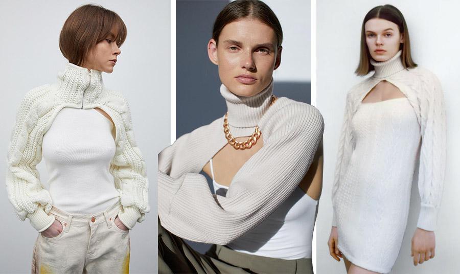 Σε κρεμ και λευκές αποχρώσεις πλεκτά ζιβάγκο μπολερό, τα οποία φοριούνται είτε πάνω από το παντελόνι για σπορ ντύσιμο, με μία χοντρή αλυσίδα και φαρδύ παντελόνι αλλά και πάνω από ένα στενό μίνι φόρεμα