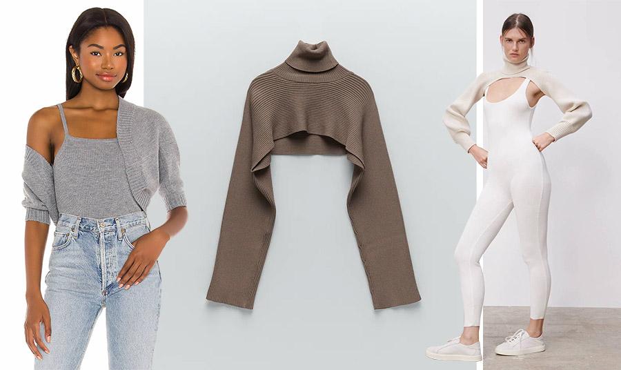 Πλεκτό μπολερό σε σετ, Pixie Market // Σε φαρδιά γραμμή και ριμπ πλέξη, Zara // Κατάλληλο στιλ και για τη γυμναστική, Zara