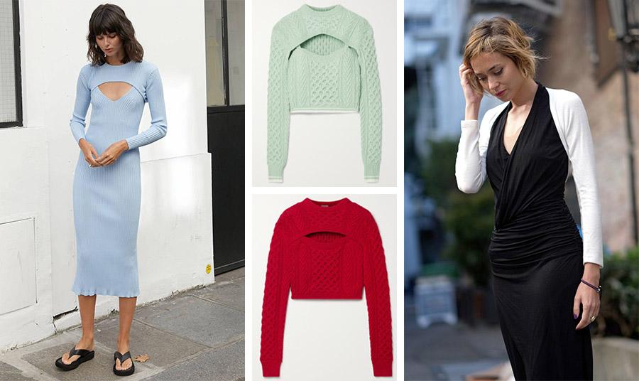 Πλεκτό φόρεμα με ασορτί μπολερό, Pixie Market // Βεραμάν ή κόκκινο της φωτιάς, Rosie Assoulin // Φορέστε ένα λευκό μπολερό με όλα τα υπόλοιπα ρούχα σε μαύρο