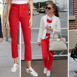 Η πανταχού παρουσία του κόκκινου! Ένα κόκκινο τζιν με μπλε μαρινιέρα και σακάκι, με λευκή-κόκκινη μπλούζα και λευκό σακάκι ή απλά με οτιδήποτε μαύρο είναι διαχρονικές επιλογές