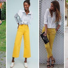 Κίτρινο τζιν με μαύρο, λευκό ή γκρι δίνει έναν αέρα κομψότητας από το πρωί έως το βράδυ
