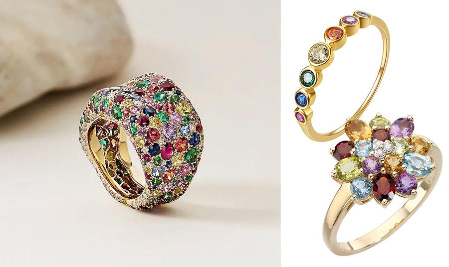 Εντυπωσιακό δαχτυλίδι με πολύτιμους και ημιπολύτιμους λίθους, Fabergé // Δαχτυλίδι από χρυσό με πολύχρωμες πέτρες, από τη συλλογή Eternity, Cartier // Χρυσό δαχτυλίδι με πολύτιμους λίθους σε διάφορα χρώματα, Ernest Jones