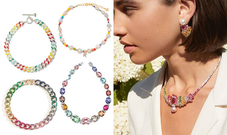 Πολύχρωμα κολιέ θα φωτίσουν τα σύνολα του χειμώνα! Σαν αλυσίδα, Amina Muandi // Δεμένες ημιπολύτιμες πέτρες με πέρλες, Faisier Sterling // (ΚΑΤΩ) Χοντρή πολύχρωμη αλυσίδα, Pomellato // Πολύτιμες πέτρες δεμένες με διαμάντια, Tiffany's // Koλιέ και ασορτί σκουλαρίκια, Dior Jewellery
