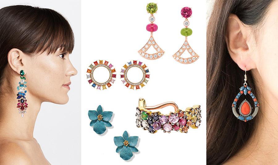 Τα μακριά και πολύχρωμα σκουλαρίκια είναι πολύ της μόδας // Κρεμαστά σκουλαρίκια από ροζ χρυσό, διαμάντια και πολύχρωμους λίθους, Bulgari // Πολύχρωμοι κρίκοι, Ileana Makri // Σκουλαρίκι με πολύχρωμους λίθους, Ana Khouri //  Γαλάζια λουλούδια με χρυσό, Bagum Khan // Κρεμαστά σκουλαρίκια με γαλάζιο και πορτοκαλί ταιριάζουν με μαύρα ή λευκά ρούχα!