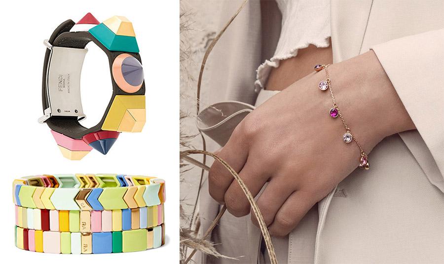 Χρώμα και στα βραχιόλια και μάλιστα σε διαφορετικά υλικά! Μεγάλο βραχιόλι-χειροπέδα, Fendi // Πολλά μαζί πολύχρωμα βραχιόλια, Roxanne Assoulin // Διακριτική ροζ χρυσή αλυσίδα με λιλά ημιπολύτιμους λίθους, Joshua James