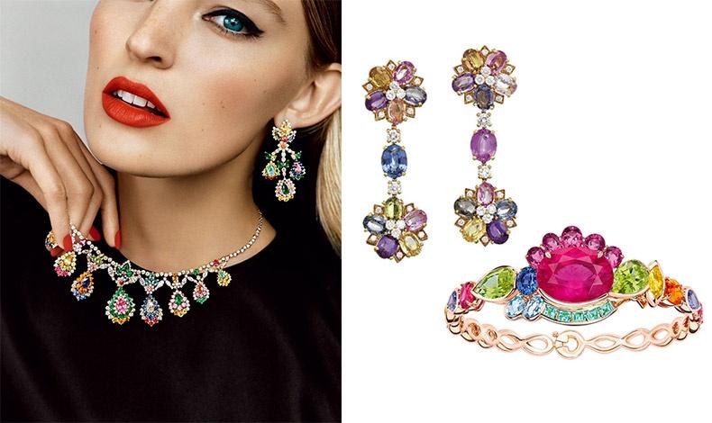 Πολύχρωμα κοσμήματα, ιδανικά αξεσουάρ για όσες θέλουν να εντυπωσιάσουν, από την Victoria Castellane για τον οίκο Dior // Μακριά σκουλαρίκια, Bulgari // Βραχιόλι, Dior Haute Joaillerie