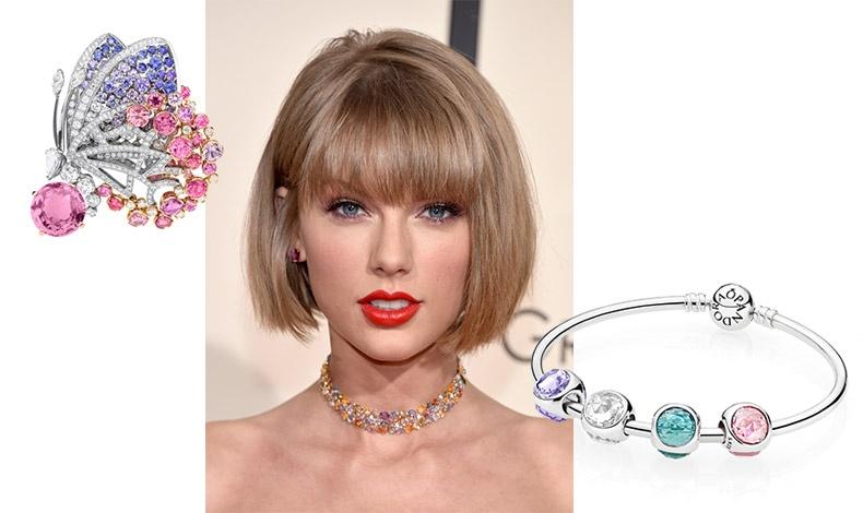 Καρφίτσα σε σχήμα πατελούδας σε ροζ, μοβ αποχρώσεις, Bulgari // H Τaylor Swift έχει υιοθετήσει την τάση // Βραχιόλι με πολύχρωμα σύμβολα, Pandora