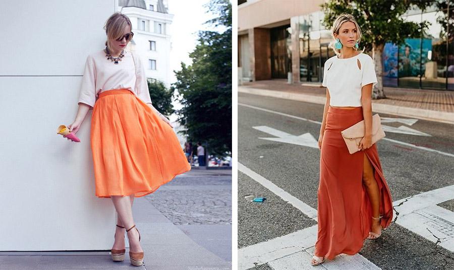Φορέστε ένα απλό τοπ λευκό με την πορτοκαλί σας φούστα για όλο το καλοκαίρι