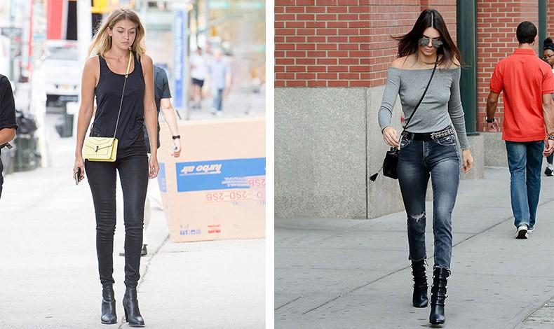 Η Gigi Hadid φορά την τσάντα της χιαστί και προς τα εμπρός, σαν μία υποσυνείδητη ασπίδα απέναντι στους φωτογράφους // Η Kendall Jenner με την τσάντα χιαστί προς τα πίσω είναι σε μία χαλαρή βόλτα, χωρίς να δίνει σημασία στην εμφάνισή της