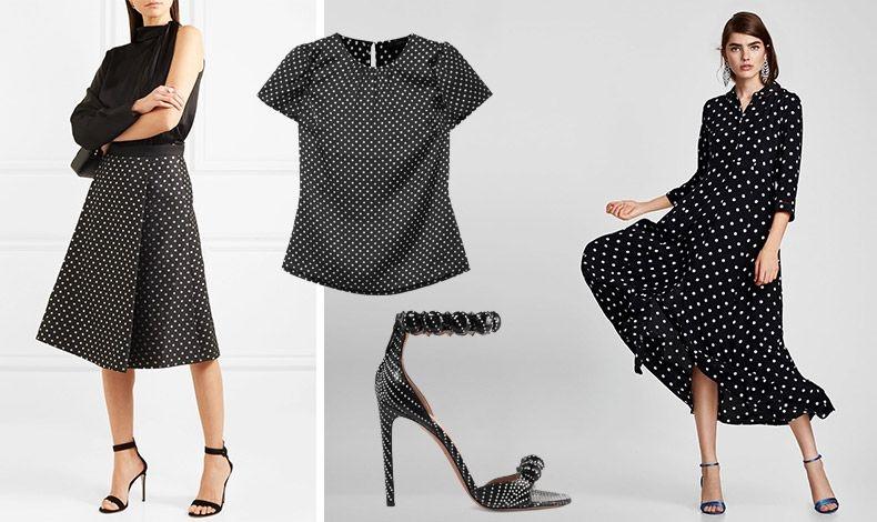 Πουά σε μαύρο-άσπρο μπορούν να φορεθούν για μία στιλάτη επαγγελματική εμφάνιση και να σας συνοδεύσουν? μέχρι το βράδυ! Φούστα-φάκελος, DraperJames // Τοπ, J. Crew // Ψηλοτάκουνο πέδιλο, Alaia // Ανάλαφρο φόρεμα, Zara