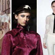 Ένα ρετρό πουκάμισο με διαφάνειες συνδυασμένο με ένα ψηλόμεσο παντελόνι και για το βράδυ, Marchesa // Σατέν πουκάμισο με δέσιμο φιόγκο στον λαιμό, Burberry // Μαύρη κορδέλα δεμένη σαν γραβάτα πάνω από λευκά ρούχα, Coco Rochas