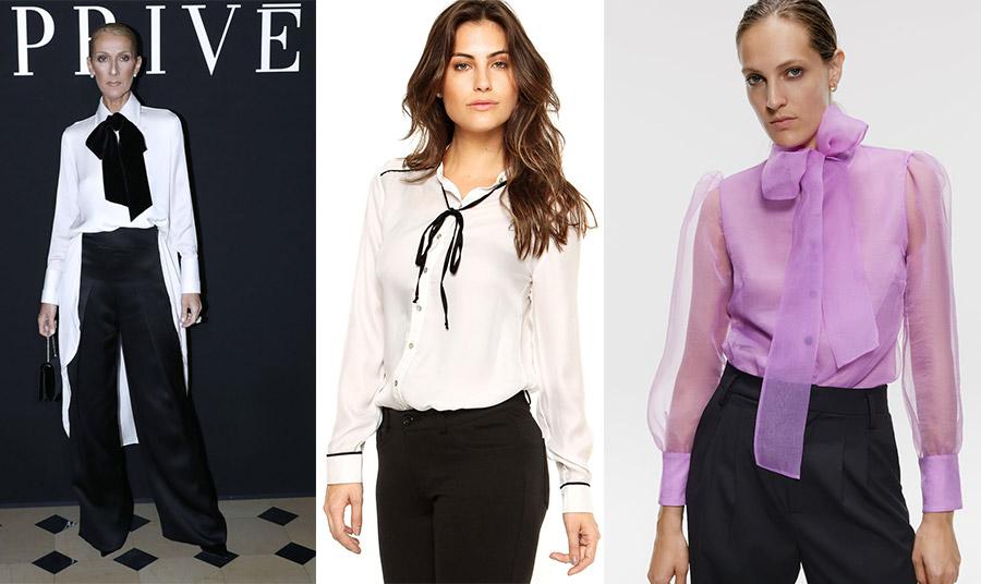Η Celine Dion με ανδρόγυνο λουκ και τεράστιο μαύρο φιόγκο σε επίσημη εκδήλωση // Μία λεπτεπίλεπτη βελούδινη κορδέλα στολίζει διακριτικά το πουκάμισό μας // Διαφάνεια και μεγάλος φιόγκος για το μοβ πουκάμισο, Zara