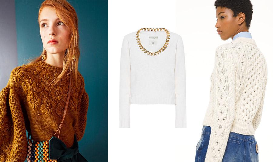 Εντυπωσιακό πουλόβερ με απλικέ μαργαρίτες, Ulla Johnson // Λευκό πουλόβερ με χρυσή αλυσίδα στον λαιμό, Bottega Veneta // Χοντρό πουλόβερ με κεντημένα στρας, Michael Kors