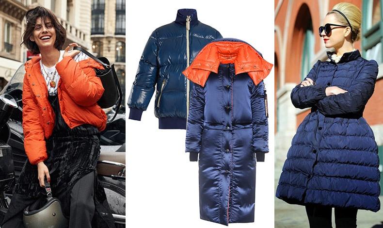 Το πορτοκαλί είναι ένα από τα κυρίαρχα χρώματα της μόδας της χρονιάς // Κοντό μπουφάν, Acne Studios // Μακρύ μπλε με πορτοκαλί επένδυση, Versace