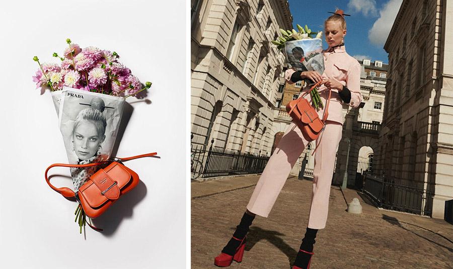 Η ίδια η φωτογράφηση της Resort συλλογής για το 2020 από τους φωτογράφους Drew Vickers και Keizo Kitajima περιλαμβάνει μοντέλα που κρατούν λουλούδια τυλιγμένα σε Prada, φωτογραφημένα στους δρόμους μεγάλων πόλεων.