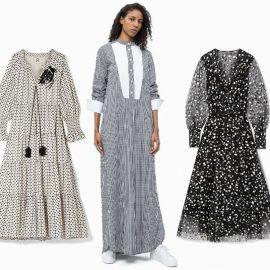 Οι ασπρόμαυρες εκδοχές των φορεμάτων γαλλικής εξοχής που ανάλογα με το στιλ τους φοριούνται και για πιο επίσημες εμφανίσεις. Ρετρό διάθεση, Free People // Λευκό με μαύρα πουά και σφιγκοφωλιές, Figure // Μακρύ φόρεμα με λευκές φάσες, Calvin Klein // Mεταξωτό φόρεμα με διαφάνειες, Oscar de la Renta // Μαύρο φόρεμα με λευκά «ψαροκόκκαλα» και μανίκια σαν κοντή κάπα, Self Portrait