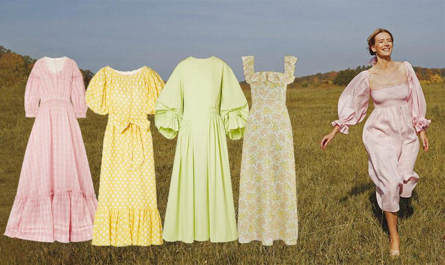 Παστέλ χρώματα και έντονες τάσεις ρομαντισμού! Μακρύ ροζ καρό, Calvin Klein // Κίτρινο με λευκά πουά, Liza Marie Fernandez // Απαλό πράσινο της χλόης με φουσκωτά μανίκια, Roksanda // Ρετρό φλοράλ, Zimmerman