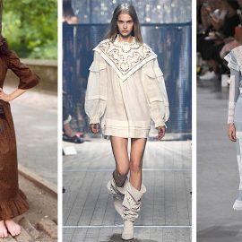 Οι διαφορετικές εκδοχές των φορεμάτων γαλλικής εξοχής: Καφέ μακρύ, Batsheva Hay // Μίνι λευκό, Isabel Marant // Μακρύ γαλάζιο με διαφάνειες, John Galliano