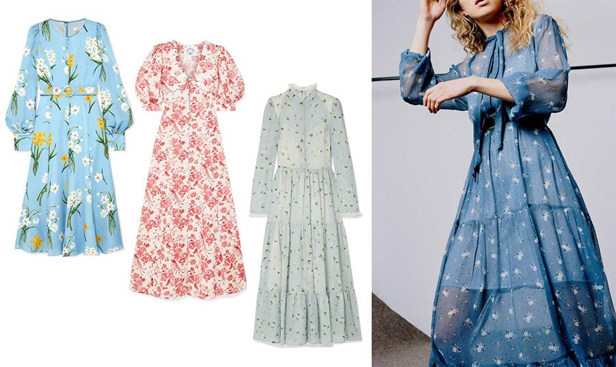 H άνοιξη σε ένα… φόρεμα! Γαλάζιο με λευκά και κίτρινα λουλούδια, Andrew Gn // Σαν ταπισερί με ροζ λουλούδια, Evi Grintela // Παστέλ λουλουδάτο, Philosophy by Lorenzo Serafini // Ανάλαφρο γαλάζιο με λευκά λουλουδάκια, Topshop