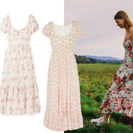 Πράσινο ανάλαφρο φόρεμα, Mango // Λευκό με ροζ τριαντάφυλλα, Loveshack Fancy // Παστέλ ροζ λουλουδάτο, Doen // Συνδυάστε ένα prairie φόρεμα με τα λευκά αθλητικά σας για τις καλοκαιρινές σας διακοπές