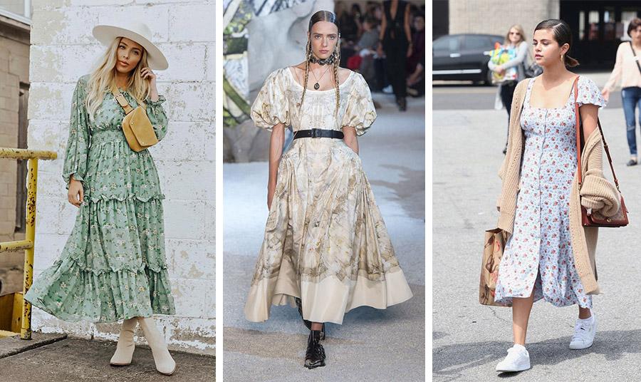 Φορέστε το φόρεμα γαλλικής εξοχής με μπότες // Από την πασαρέλα καλοκαίρι 2019, Alexander McQueen // Η Selena Gomez με prairie dress και λευκά sneakers