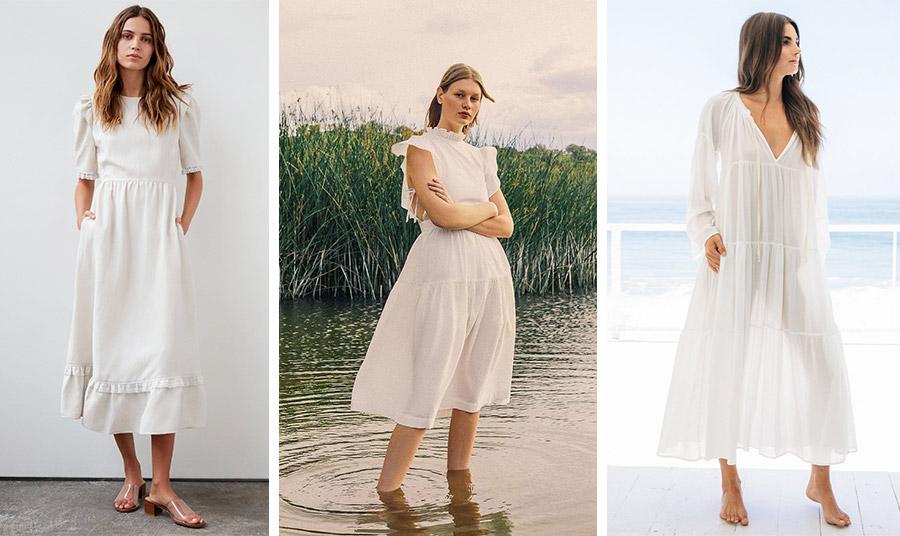 Ένα λευκό prairie dress σε λιτή και ίσια γραμμή είναι κατάλληλο και για το γραφείο // Λευκό ρομαντικό, Chloé // Λευκό διάφανο κατάλληλο και για την παραλία, Majorca
