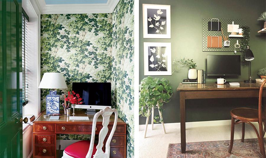 Το πράσινο του πεύκου είναι μία εξαιρετική απόχρωση για το γραφείο. Συνδυάστε ξύλινα έπιπλα για έναν θερμό χώρο // Ακόμη κι ένας πολύ μικρός χώρος μπορεί να γίνει το γραφείο μας. Μία ταπετσαρία με φυλλώματα είναι εξαιρετική λύση