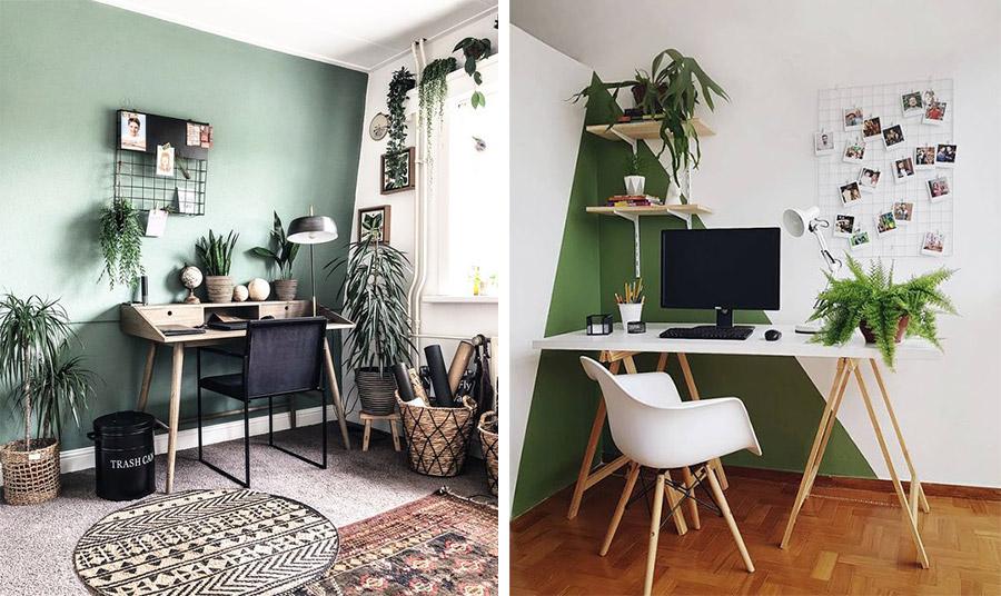 Μία boho chic ιδέα με πράσινη απόχρωση στους τοίχους, μοντέρνα έπιπλα, καλάθια και χαλιά αλλά και πολλά φυτά // Για μία μοντέρνα διακόσμηση γραφείου, με λευκούς και πράσινους τόνους στους τοίχους, λευκά μοντέρνα έπιπλα και πινελιές πράσινων φυτών