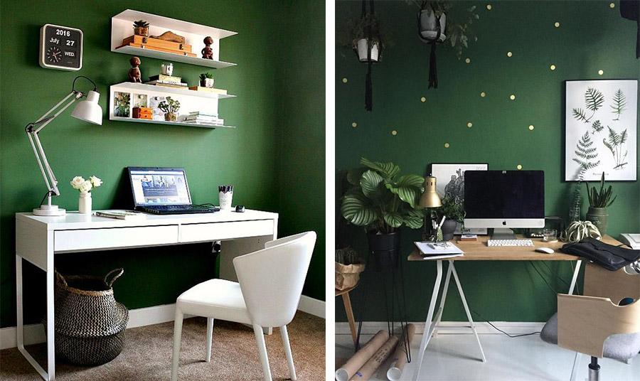Λαμπερό πράσινο με πουά… στον τοίχο αλλά και μοντέρνα ξύλινα έπιπλα δημιουργούν έναν υπέροχο χώρο γραφείου // Λιτές γραμμές σε λευκά μοντέρνα έπιπλα με λαμπερό πράσινο στους τοίχους. Μικρή λεπτομέρεια το αφρικάνικου στιλ καλάθι δίνει μία επιπλέον στιλιστική νότα