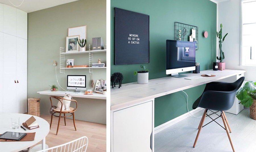 Μία ενδιαφέρουσα πράσινη απόχρωση ζωντανή και ματ ταυτόχρονα με λευκά έπιπλα και μαύρα στοιχεία. Σύγχρονο στιλ! // Γλυκό πράσινο-γκρι στον τοίχο, κατάλληλη ιδέα και για την κρεβατοκάμαρα. Λευκός πάγκος εργασίας και απλά ράφια σε συνδυασμό με μία ξύλινη στιλάτη καρέκλα με ψάθα
