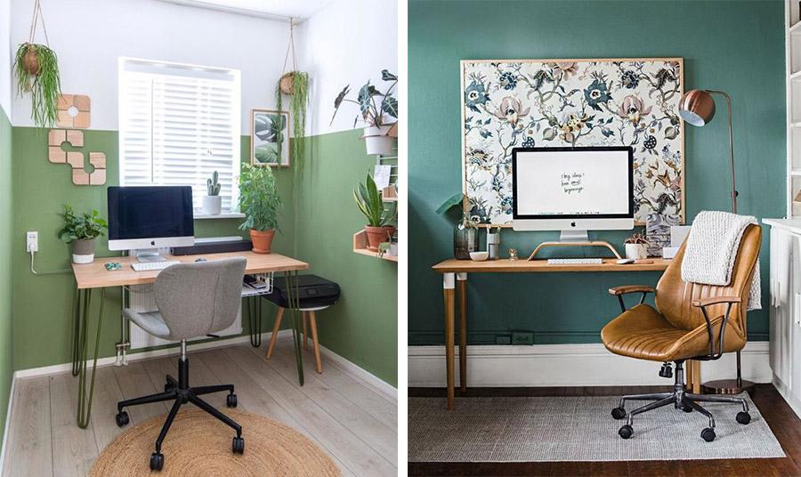 Μία απλή ιδέα, για έναν χώρο γραφείου. Συνδυασμός πράσινο του πεύκου με απλά έπιπλα αλλά και ένα ψάθινο χαλάκι και φυτά, που φέρνουν τη φύση σπίτι μας // Στιλ και ρετρό ύφος, με σκούρα πράσινη απόχρωση του φασκόμηλου στους τοίχους, ξύλινο τραπέζι και δερμάτινη πολυθρόνα σε συνδυασμό με χάλκινα διακοσμητικά, όπως το φωτιστικό