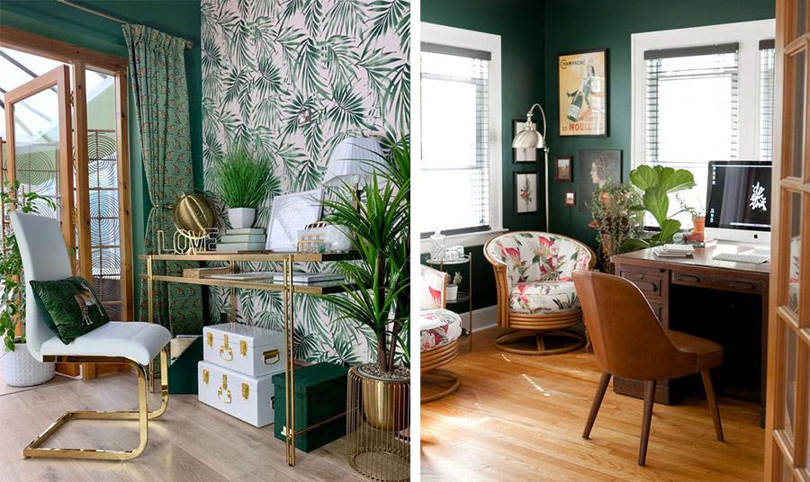 Μία κομψή ιδέα για τον χώρο του γραφείου με έπιπλα σε στιλ του '50 και σκούρο πράσινο με ξύλινα δάπεδα και έπιπλα. Λουλουδάτες στόφες και φυτά εσωτερικού χώρου ολοκληρώνουν το σκηνικό // Για τους λάτρεις του τροπικού στιλ! Ταπετσαρία ανάλογου ύφους, γυαλί και αποικιακού ρυθμού αξεσουάρ αλλά και λάμψη χρυσού και λευκού που αποπνέουν πολυτέλεια