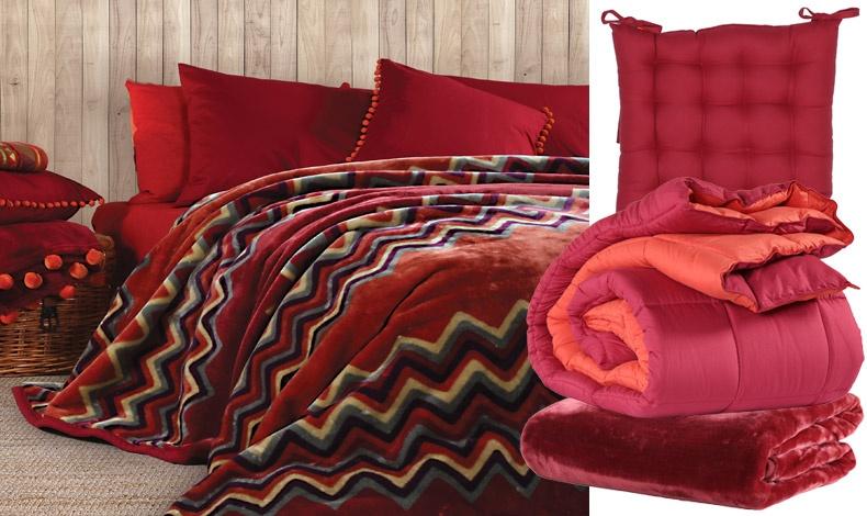 Κόκκινο είναι το χρώμα της γιορτής! Υπέρδιπλη κουβέρτα με ζακάρ Caprion, 220x240 εκ., 59,00? // Mαξιλάρι καρέκλας σε μπορντό χρώμα, 40x40 εκ., 11,00? // Πάπλωμα μονό, 2 όψεων 160x220εκ., 39,00? // Βελουτέ υπέρδιπλη κουβέρτα σε κόκκινο του κρασιού, 220x240 εκ., 59,00 ?