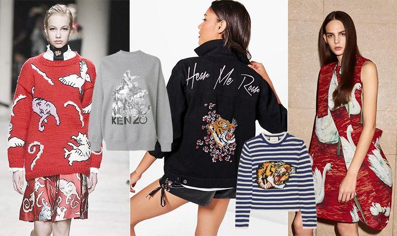 Τα καινούργια animal prints. Από την πασαρέλα φθινόπωρο 2017- χειμώνας 2018, Paul-Joe // Κολεγιακό πουλόβερ με τα ζώα της ζούγκλας, Kenzo // Mπουφάν με print τίγρη, Boohoo // Ριγέ πουλόβερ με κεντημένη τίγρη, Gucci //  Από τη συλλογή φθινόπωρο 2017- χειμώνας 2018, Victoria Beckham