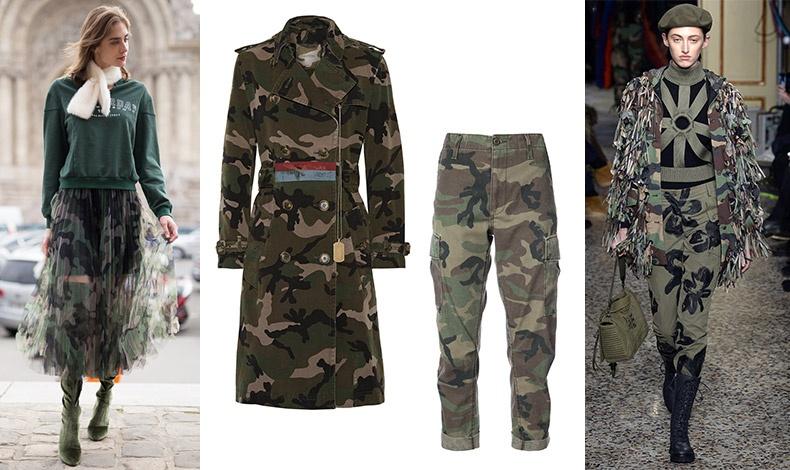 Φούστα από τούλι με print καμουφλάζ, Taiana // Στρατιωτικό παντελόνι, ReDone // Παλτό, Valentino // Από την πασαρέλα φθινόπωρο 2017-χειμώνας 2018, Moschino