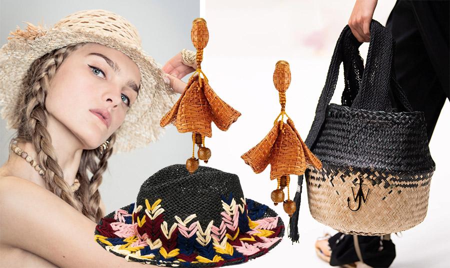 Καπέλο, Dior // Ψάθινο μάυρο καπέλο με χρωματιστές πινελιές, Etro // Κρεμαστά σκουλαρίκια, Oscar de la Renta // Συνδυασμός μαύρου και φυσικού χρώματος για την τσάντα, JW