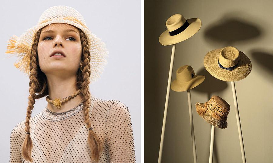 Ψάθινο καπέλο, Dior // Αριστερά προς τα δεξιά: Ψάθινο καπέλο με μαύρη κορδέλα, Celine, σε μικρό μέγεθος, Vilebrequin, χαριτωμένο ψάθινο, Dior // Panama διακριτική κορδέλα, Hermés