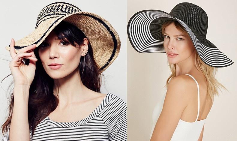 Ψάθινο καπέλο με μαύρες λεπτομέρειες, Alessndra Clear Skies // Με μεγάλο μπορ ασπρόμαυρο ψάθινο καπέλο, Forever 21