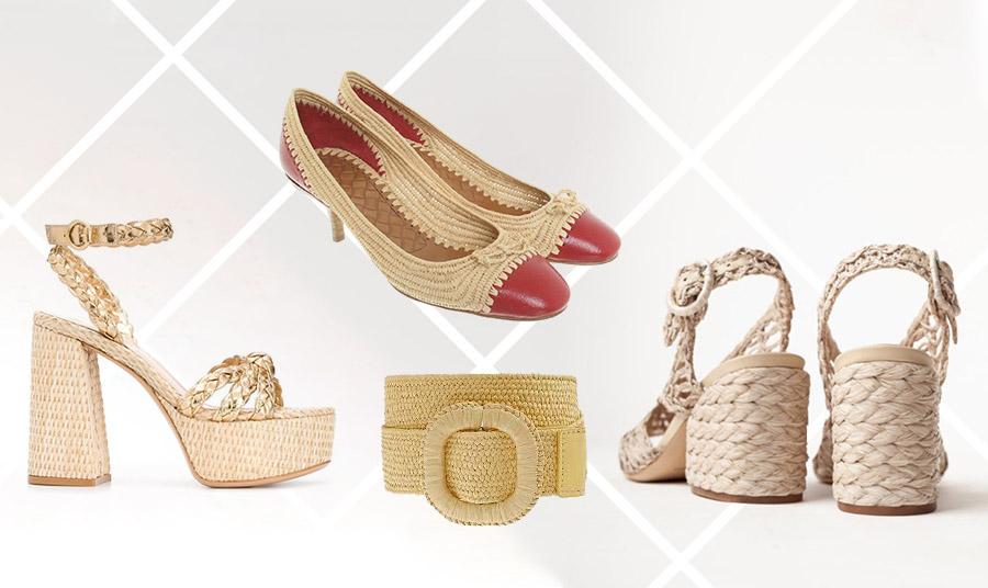 Πλεκτό πέδιλο με χρυσές λεπτομέρειες, Gianvitto Rossi // Ψάθινα παπούτσια με κόκκινες λεπτομέρειες, Bottega Veneta // Ψάθινη ζώνη, Monsoon // Ψάθινα πέδιλα, Palermo Barcelo