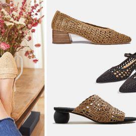 Ένα ζευγάρι φλατ ψάθινα παπούτσια ταιριάζουν τέλεια με το τζιν σας // Με τετράγωνο τακούνι και ιδιαίτερη πλέξη, Noa // Μαύρο με κομψή μπαρέτα, Jenna // Με ιδιαίτερο τακούνι και πλέξη, Mango
