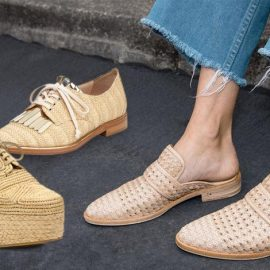 Δετό ψάθινο παπούτσι, Oscar de la Renta // Πλατφόρμα, Robert Clergerie // Φλατ, Keen