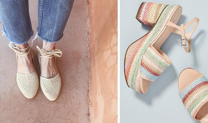 Είτε ίσια είτε με τακούνι, είτε στο φυσικό τους χρώμα είτε πολύχρωμα, τα ψάθινα παπούτσια ταιριάζουν με πολλά και διαφορετικά ρούχα και αξεσουάρ για να μας συνοδεύσουν το φετινό καλοκαίρι με στιλ!