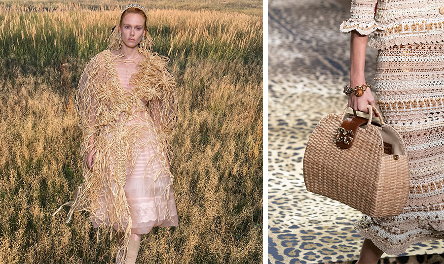 Μοναδικό πανωφόρι από πλεκτή ψάθα με πέρλες, Simone Rocha // Τσάντα, Dolce και Gabbana
