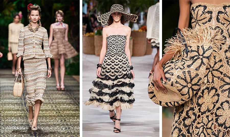 Από τη συλλογή άνοιξη -καλοκαίρι 2020, Dolce και Gabbana // Φόρεμα και καπέλο από ψάθα στο φυσικό χρώμα με μαύρο, Oscar de la Renta // Λεπτομέρεια από φόρεμα και ασορτί τσάντα φλοράλ, Oscar de la Renta