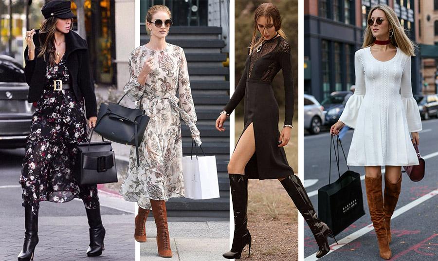 Φλοράλ, κομψά, σέξι ή πιο κοντά, όλα τα φορέματα συνδυάζονται με ψηλές μπότες για κάθε ημέρα όλη την ημέρα!
